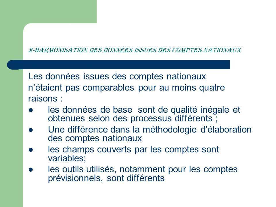 2-Harmonisation des données issues des comptes nationaux
