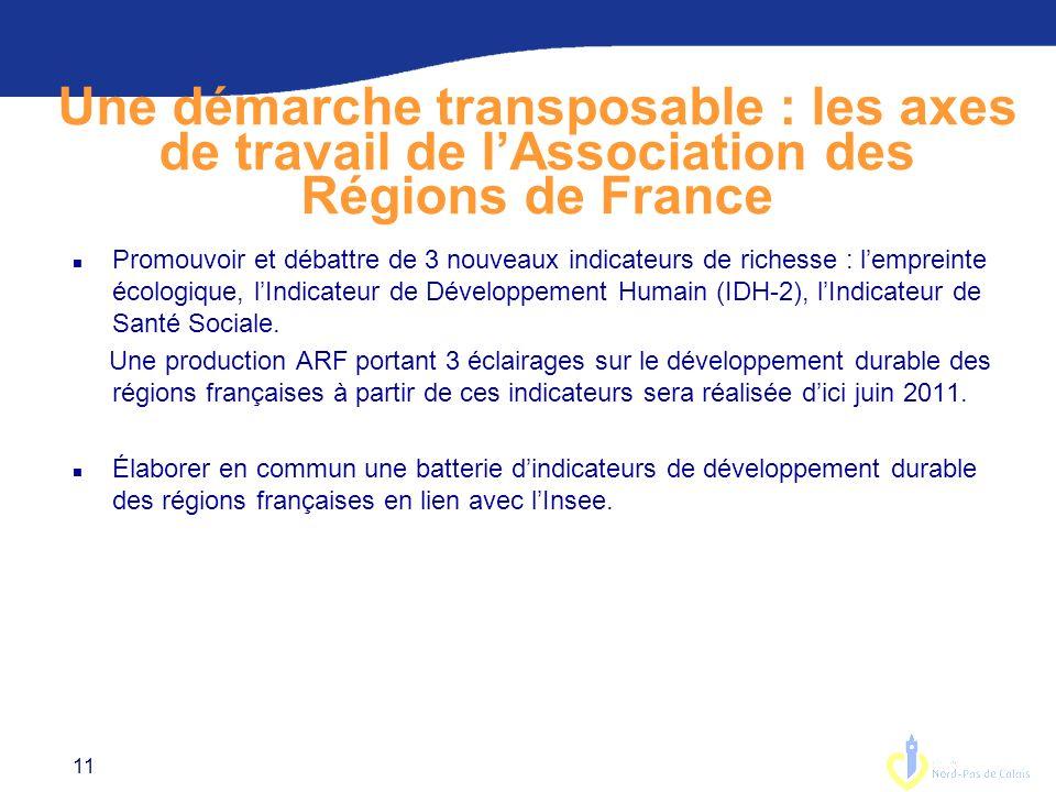 Une démarche transposable : les axes de travail de l'Association des Régions de France