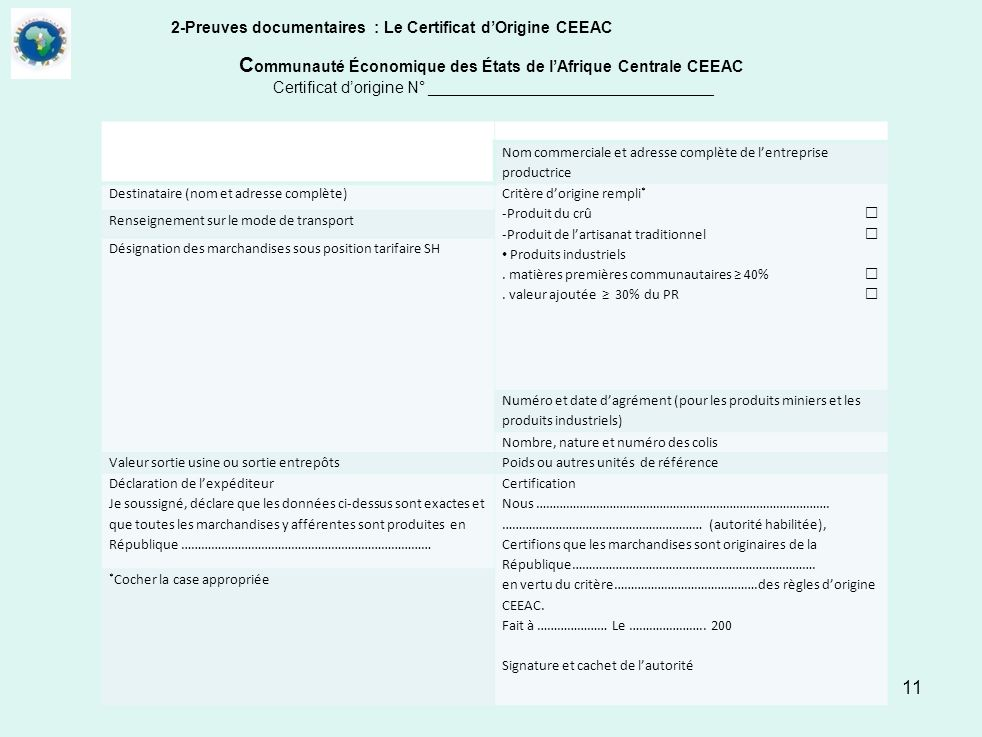 2-Preuves documentaires : Le Certificat d'Origine CEEAC