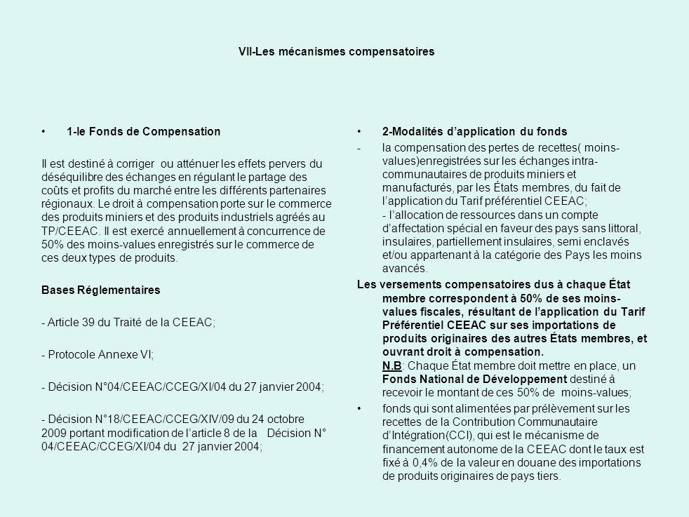 VII-Les mécanismes compensatoires