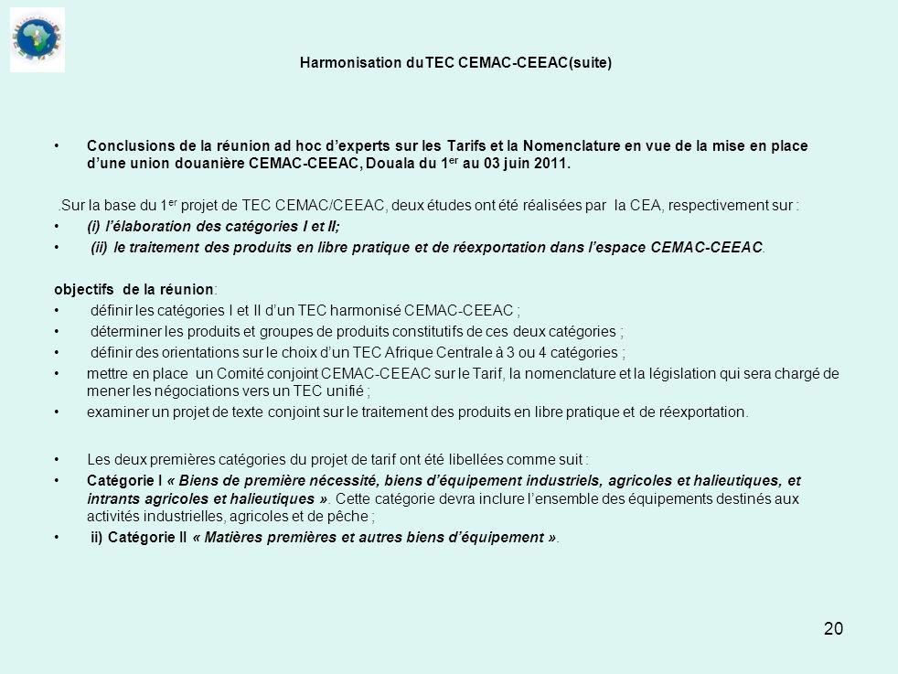 Harmonisation duTEC CEMAC-CEEAC(suite)