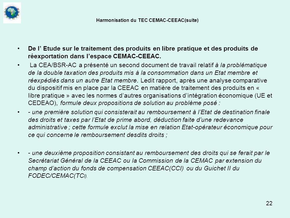 Harmonisation du TEC CEMAC-CEEAC(suite)