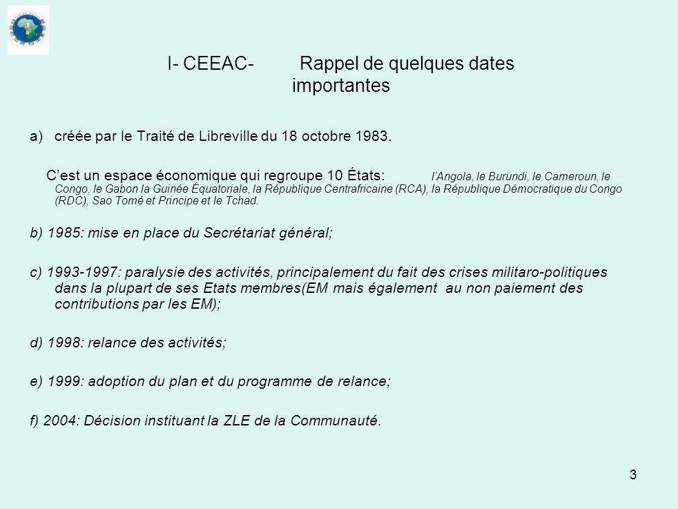 I- CEEAC- Rappel de quelques dates importantes