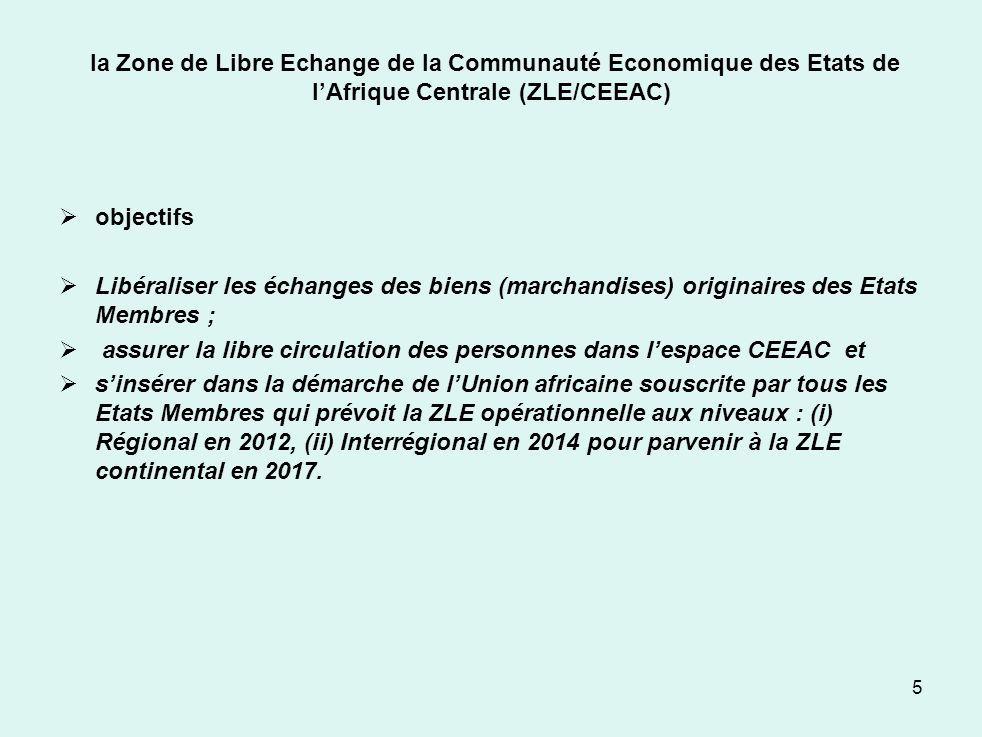 la Zone de Libre Echange de la Communauté Economique des Etats de l'Afrique Centrale (ZLE/CEEAC)