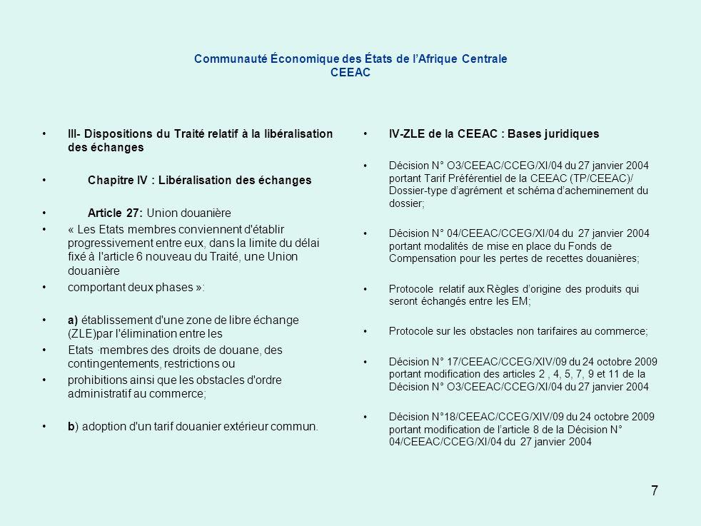 Communauté Économique des États de l'Afrique Centrale CEEAC