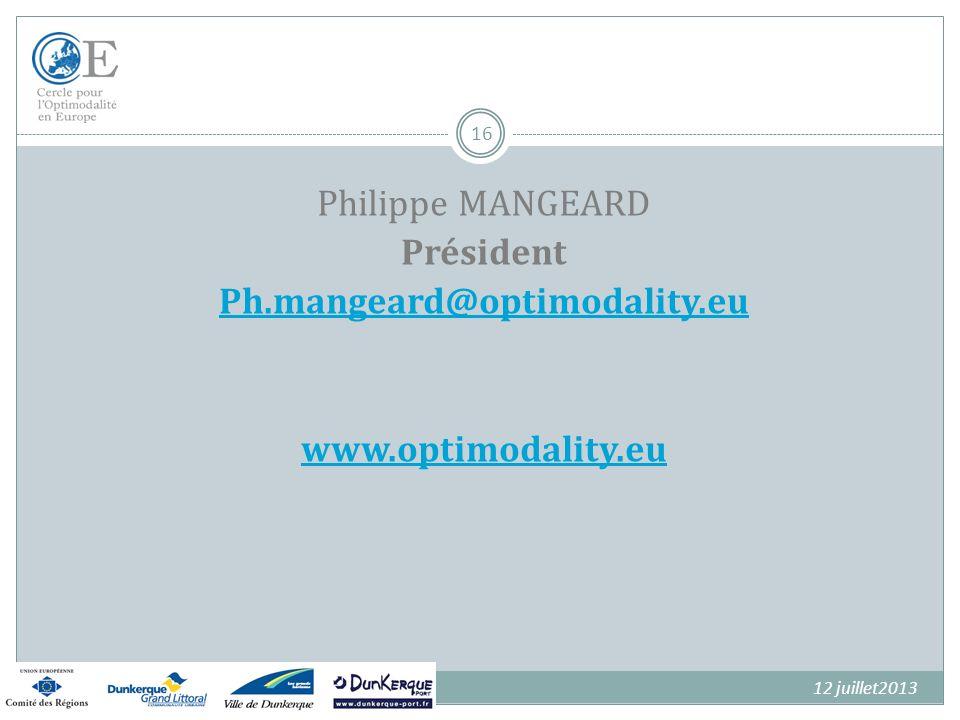 Philippe MANGEARD Président Ph. mangeard@optimodality. eu www