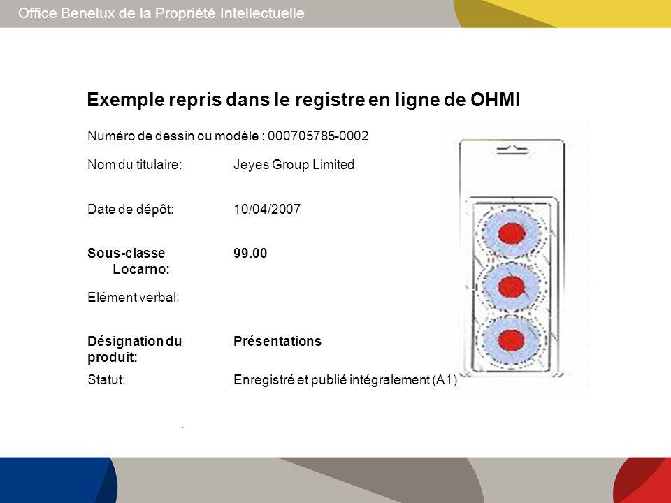 Exemple repris dans le registre en ligne de OHMI