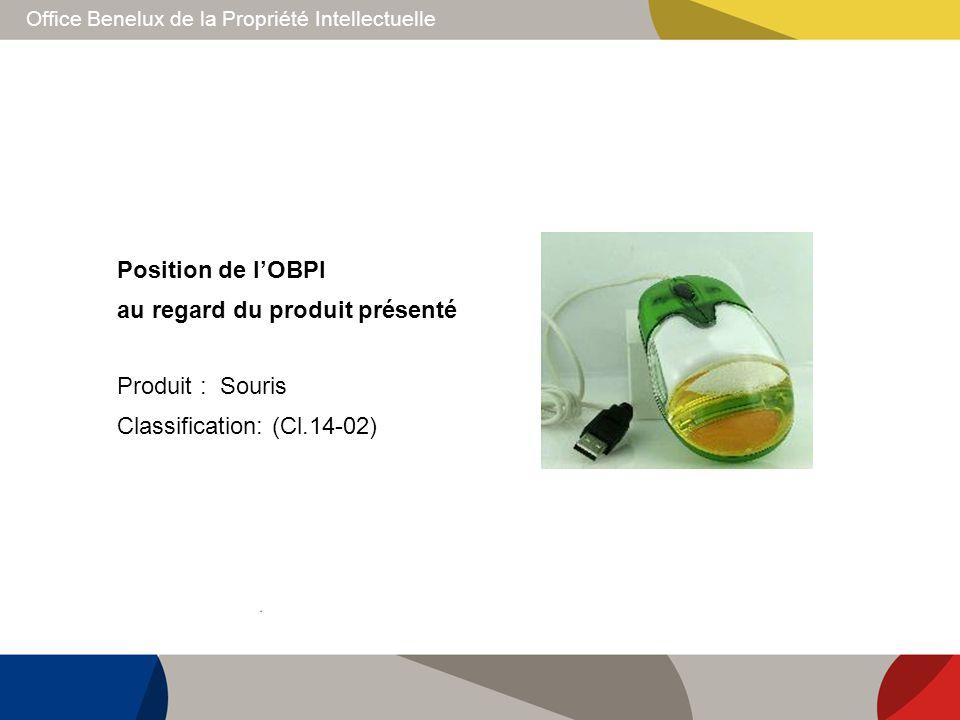 Position de l'OBPI au regard du produit présenté Produit : Souris Classification: (Cl.14-02)