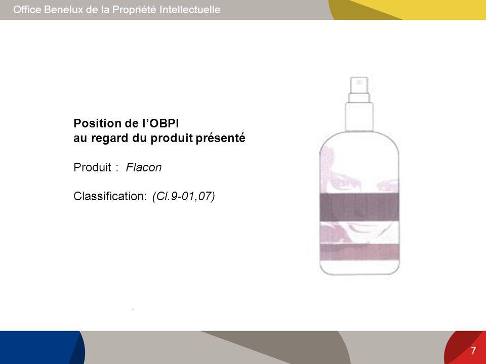 Position de l'OBPI au regard du produit présenté Produit : Flacon Classification: (Cl.9-01,07)