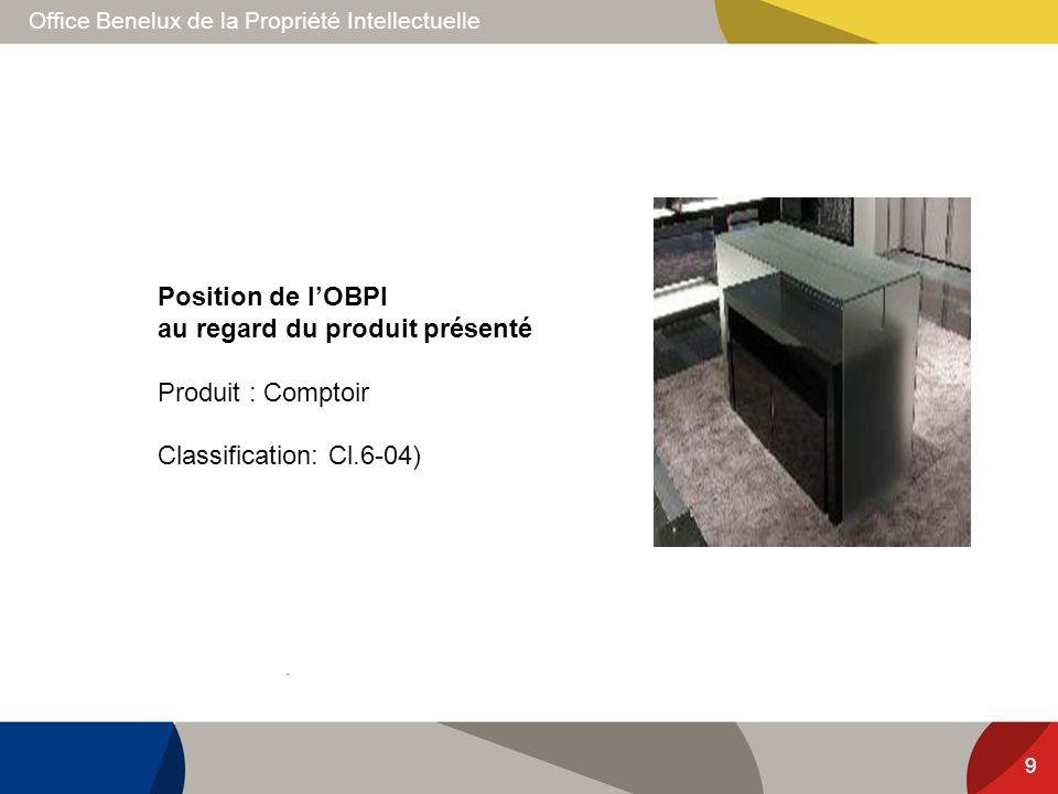 Position de l'OBPI au regard du produit présenté Produit : Comptoir Classification: Cl.6-04)