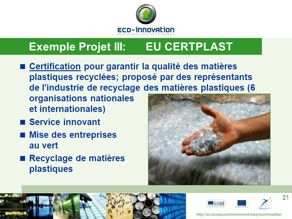 Exemple Projet III: EU CERTPLAST
