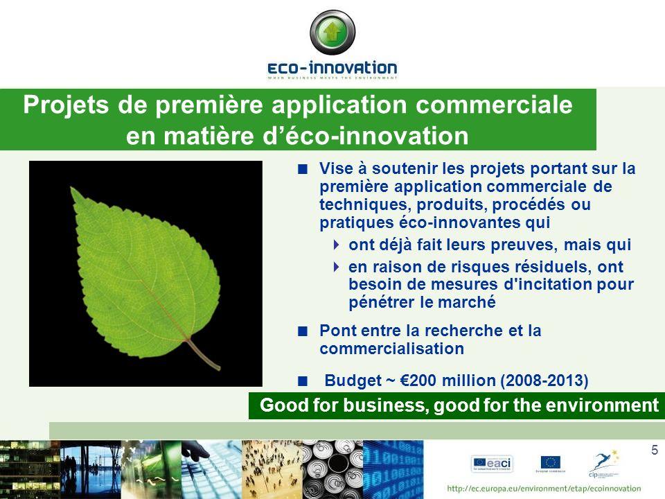 Projets de première application commerciale en matière d'éco-innovation