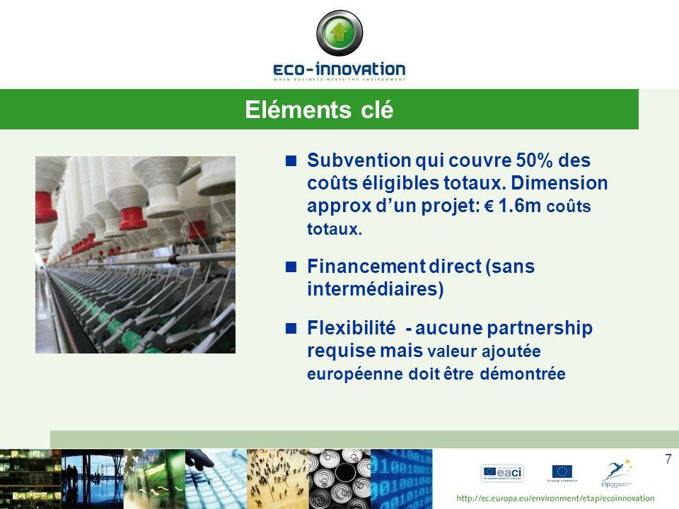 Eléments clé Subvention qui couvre 50% des coûts éligibles totaux. Dimension approx d'un projet: € 1.6m coûts totaux.