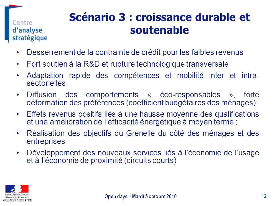 Scénario 3 : croissance durable et soutenable