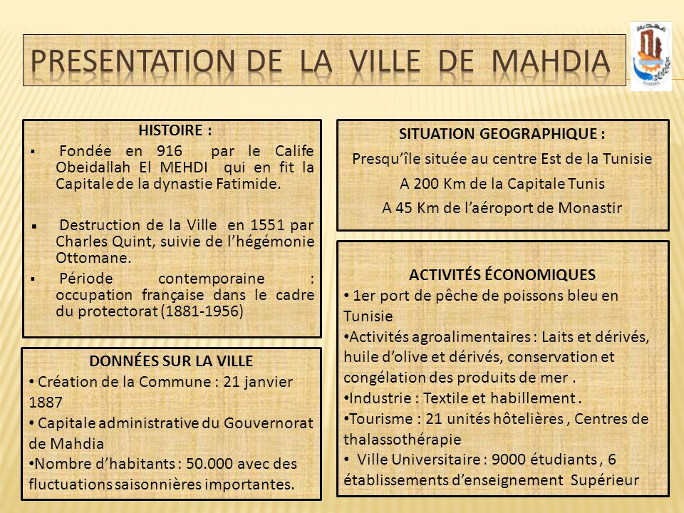 PRESENTATION de la Ville de Mahdia