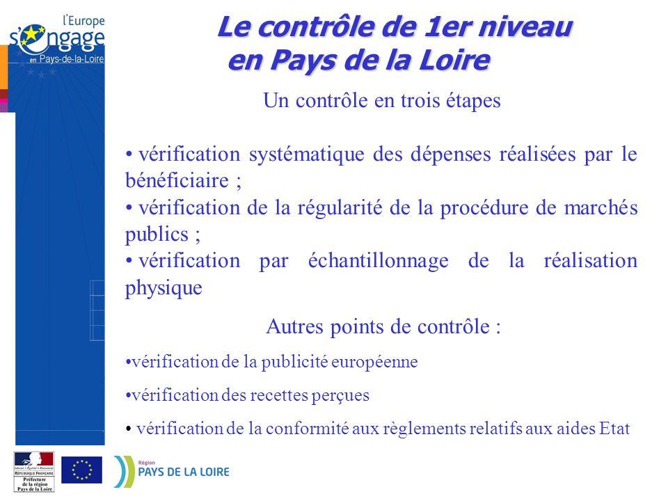 Le contrôle de 1er niveau en Pays de la Loire