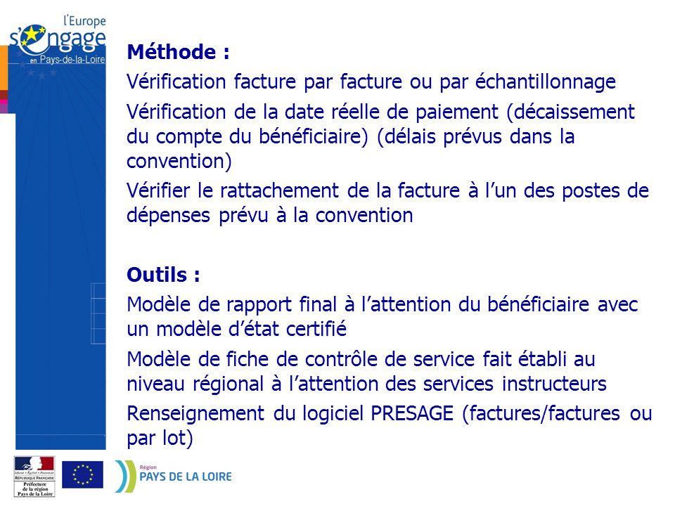 Méthode : Vérification facture par facture ou par échantillonnage.
