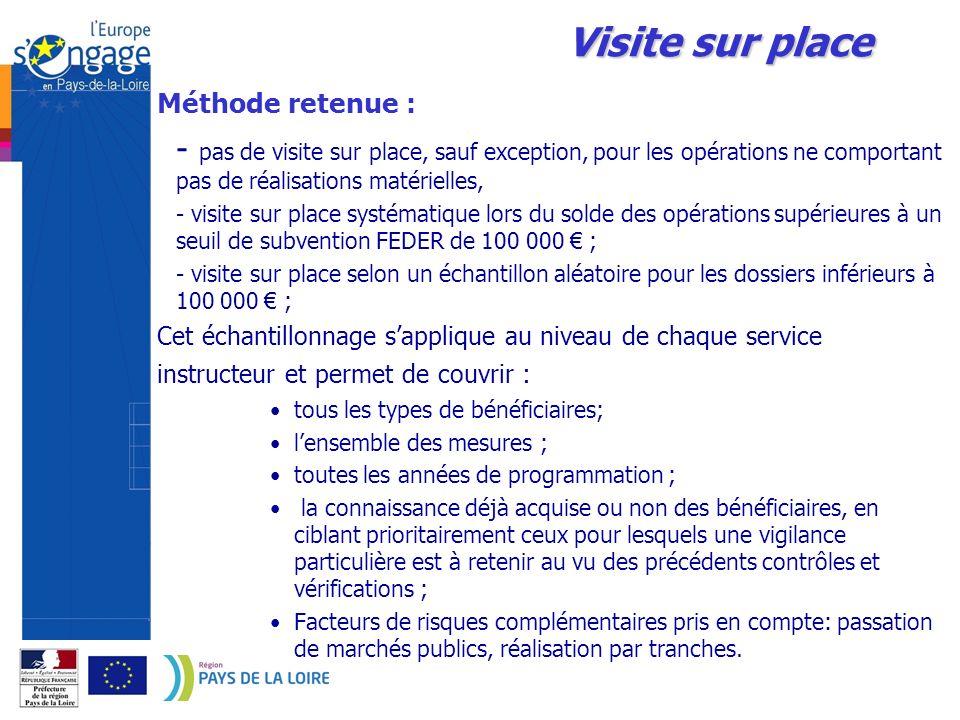 Visite sur placeMéthode retenue : - pas de visite sur place, sauf exception, pour les opérations ne comportant pas de réalisations matérielles,