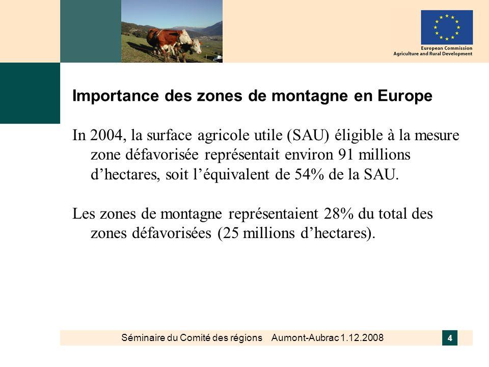 Importance des zones de montagne en Europe