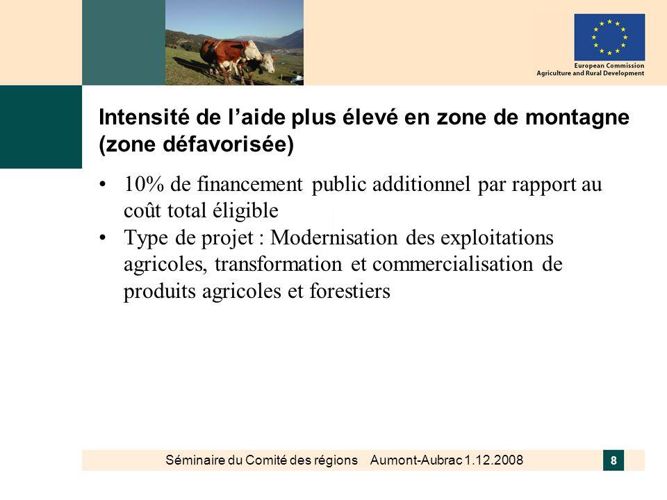Intensité de l'aide plus élevé en zone de montagne (zone défavorisée)