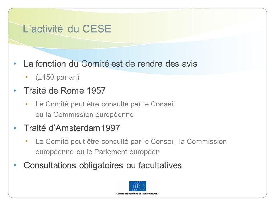 L'activité du CESE La fonction du Comité est de rendre des avis
