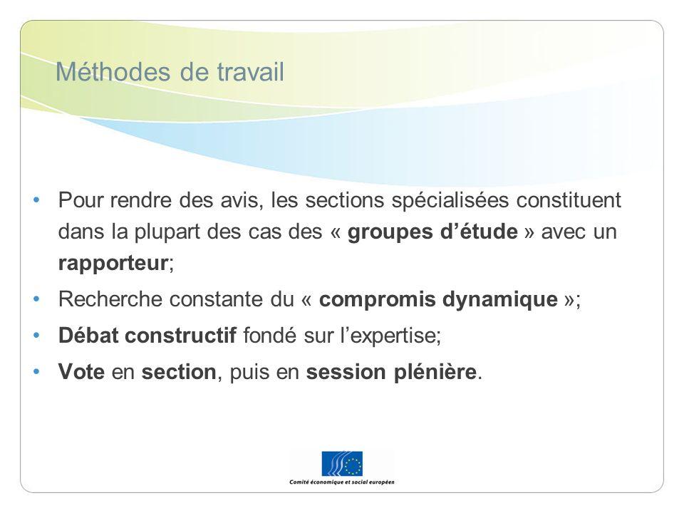 Méthodes de travail Pour rendre des avis, les sections spécialisées constituent dans la plupart des cas des « groupes d'étude » avec un rapporteur;