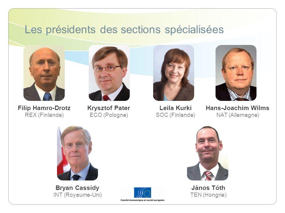 Les présidents des sections spécialisées
