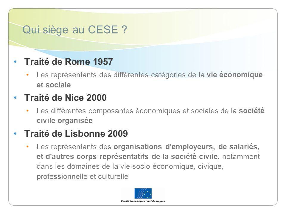 Qui siège au CESE Traité de Rome 1957 Traité de Nice 2000