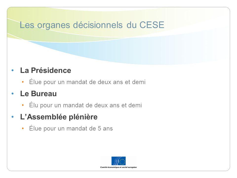 Les organes décisionnels du CESE