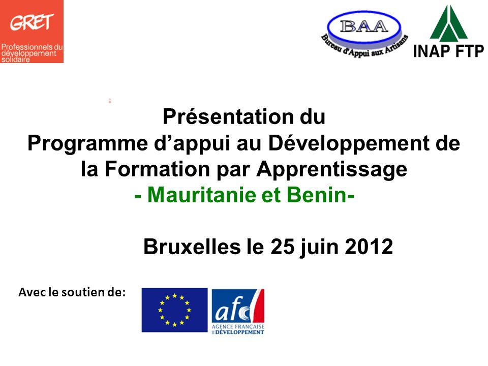 Présentation du Programme d'appui au Développement de la Formation par Apprentissage - Mauritanie et Benin- Bruxelles le 25 juin 2012