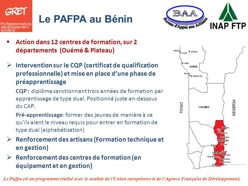 Le PAFPA au Bénin Action dans 12 centres de formation, sur 2 départements (Ouémé & Plateau)