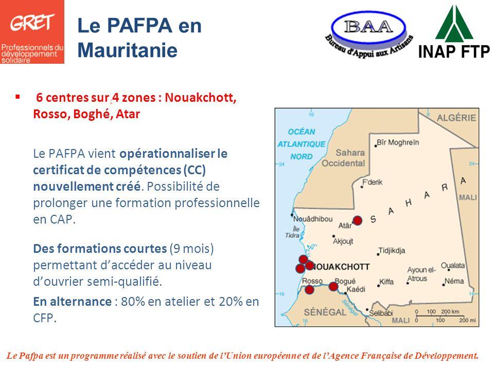 Le PAFPA en Mauritanie 6 centres sur 4 zones : Nouakchott, Rosso, Boghé, Atar.