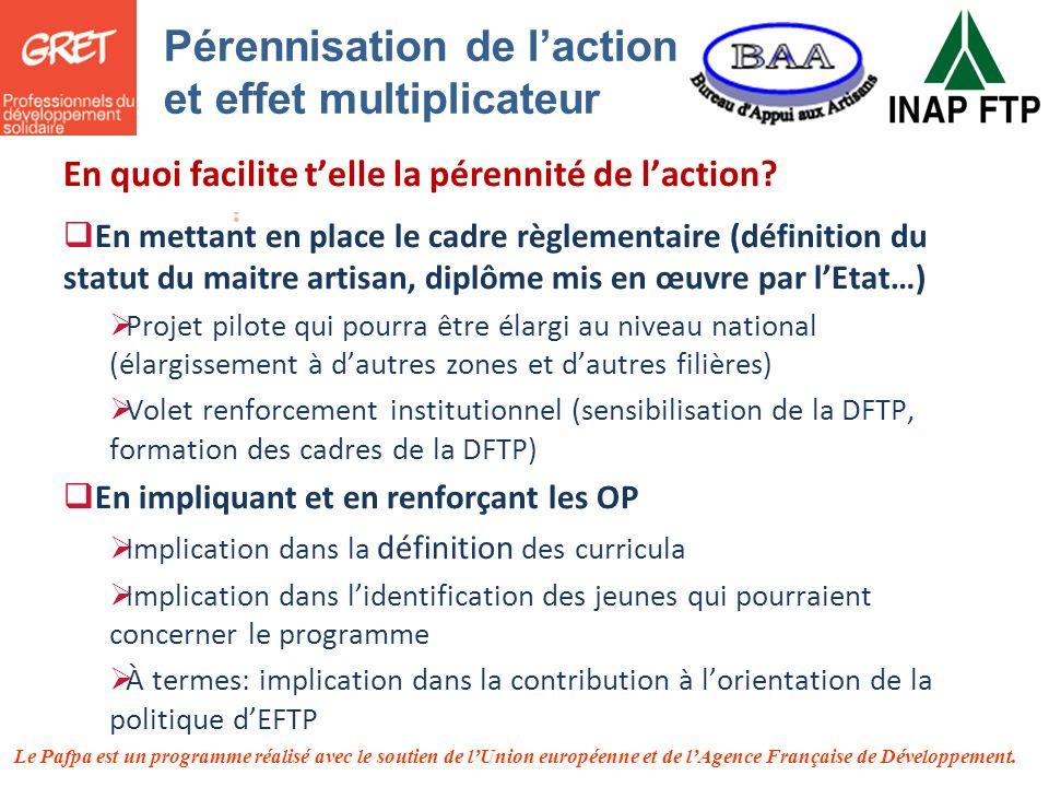 Pérennisation de l'action et effet multiplicateur