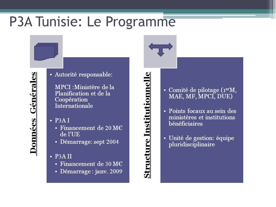 P3A Tunisie: Le Programme