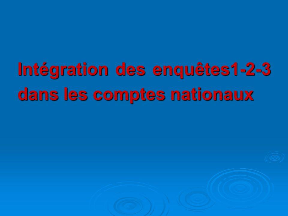 Intégration des enquêtes1-2-3 dans les comptes nationaux