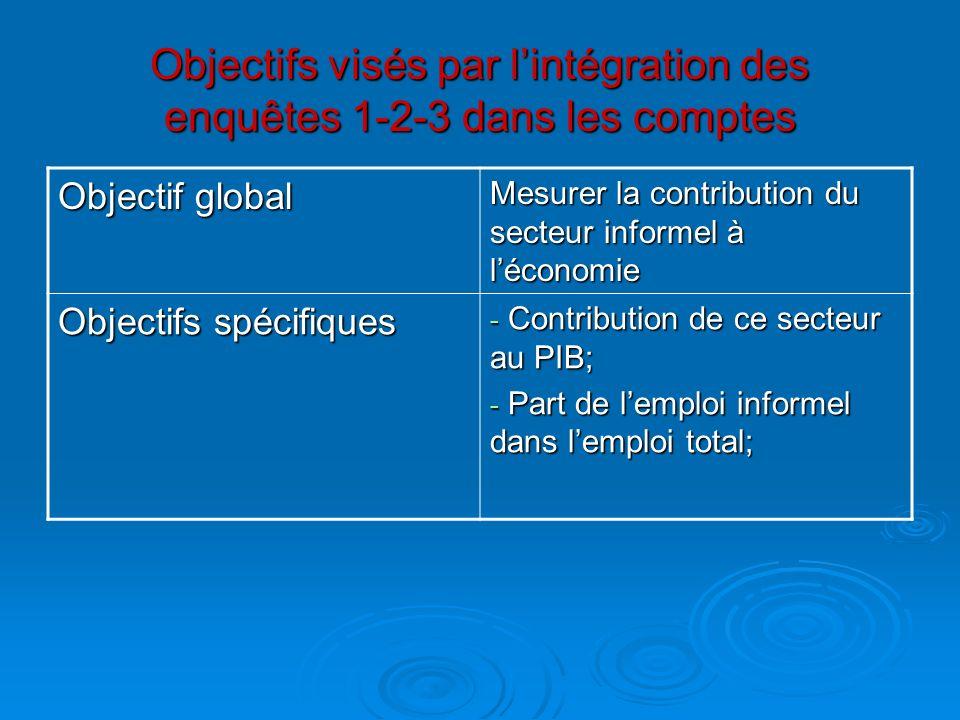 Objectifs visés par l'intégration des enquêtes 1-2-3 dans les comptes