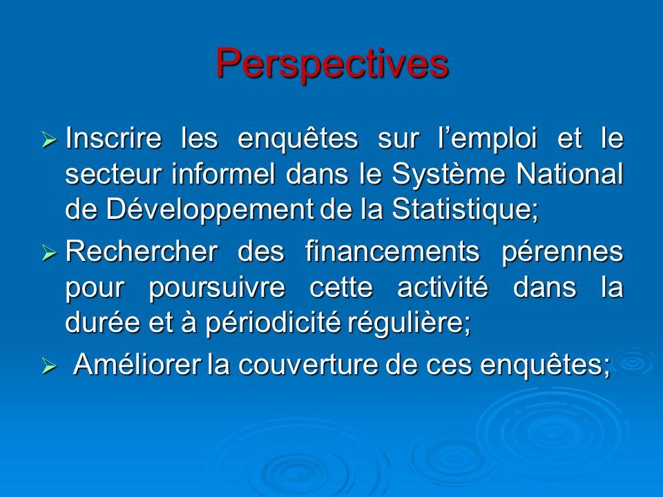 Perspectives Inscrire les enquêtes sur l'emploi et le secteur informel dans le Système National de Développement de la Statistique;