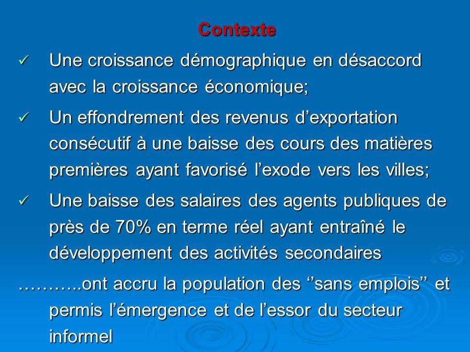 Contexte Une croissance démographique en désaccord avec la croissance économique;