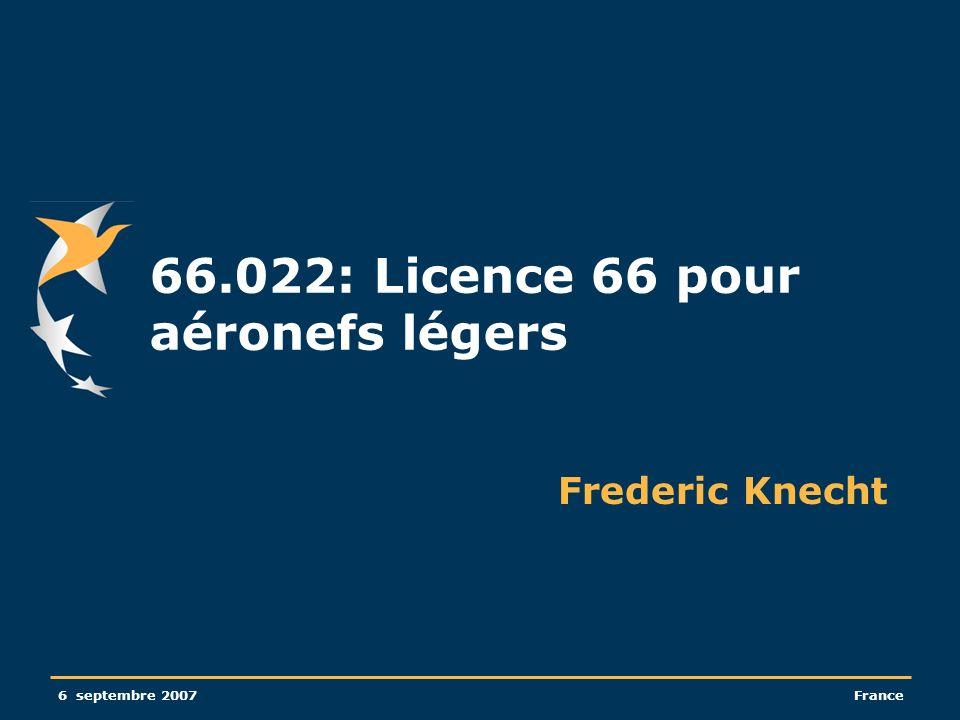 66.022: Licence 66 pour aéronefs légers