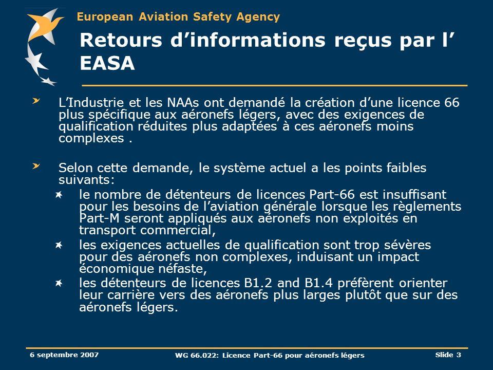 Retours d'informations reçus par l' EASA