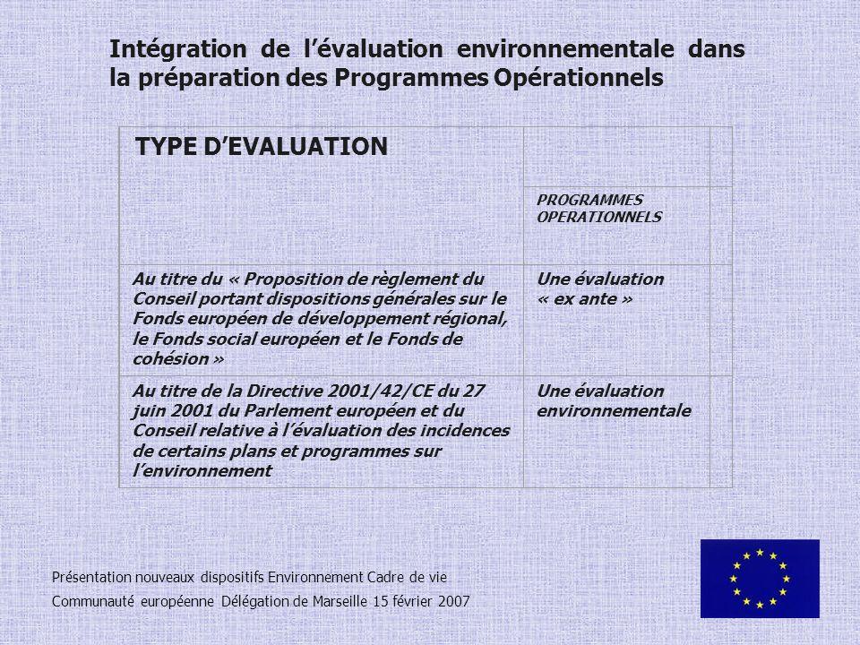 Intégration de l'évaluation environnementale dans la préparation des Programmes Opérationnels