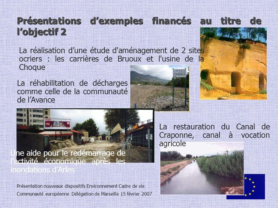 Présentations d'exemples financés au titre de l'objectif 2
