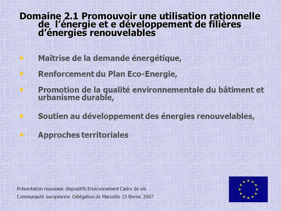 Domaine 2.1 Promouvoir une utilisation rationnelle de l'énergie et e développement de filières d'énergies renouvelables