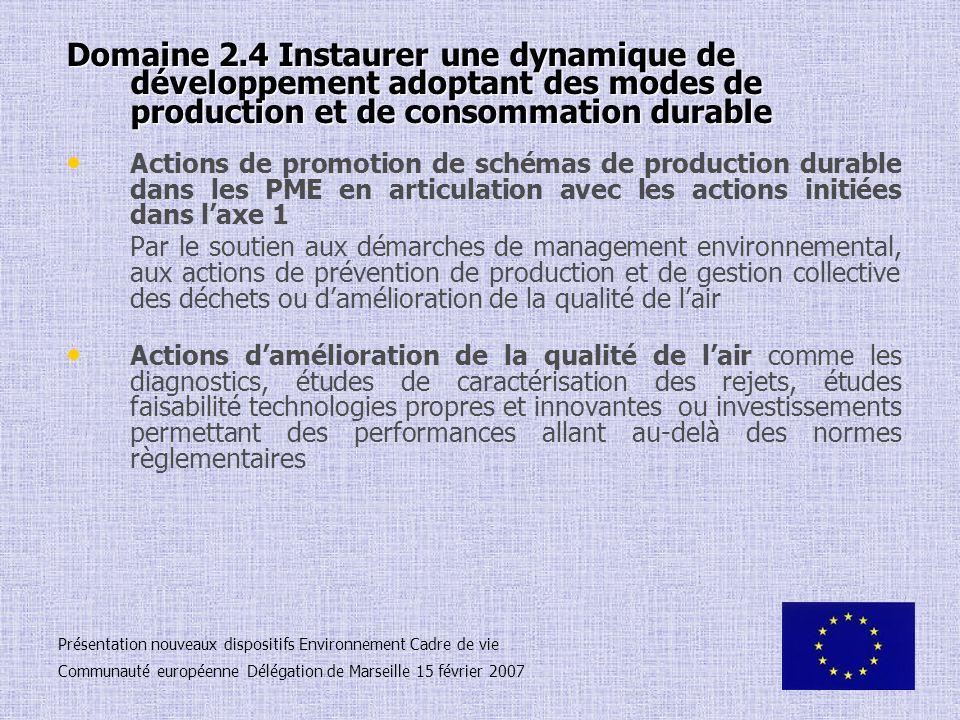 Domaine 2.4 Instaurer une dynamique de développement adoptant des modes de production et de consommation durable