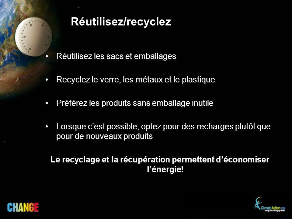 Le recyclage et la récupération permettent d'économiser l'énergie!