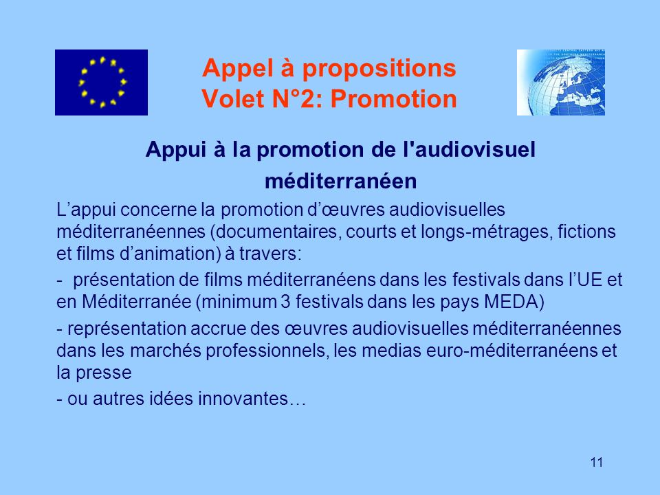 Appel à propositions Volet N°2: Promotion