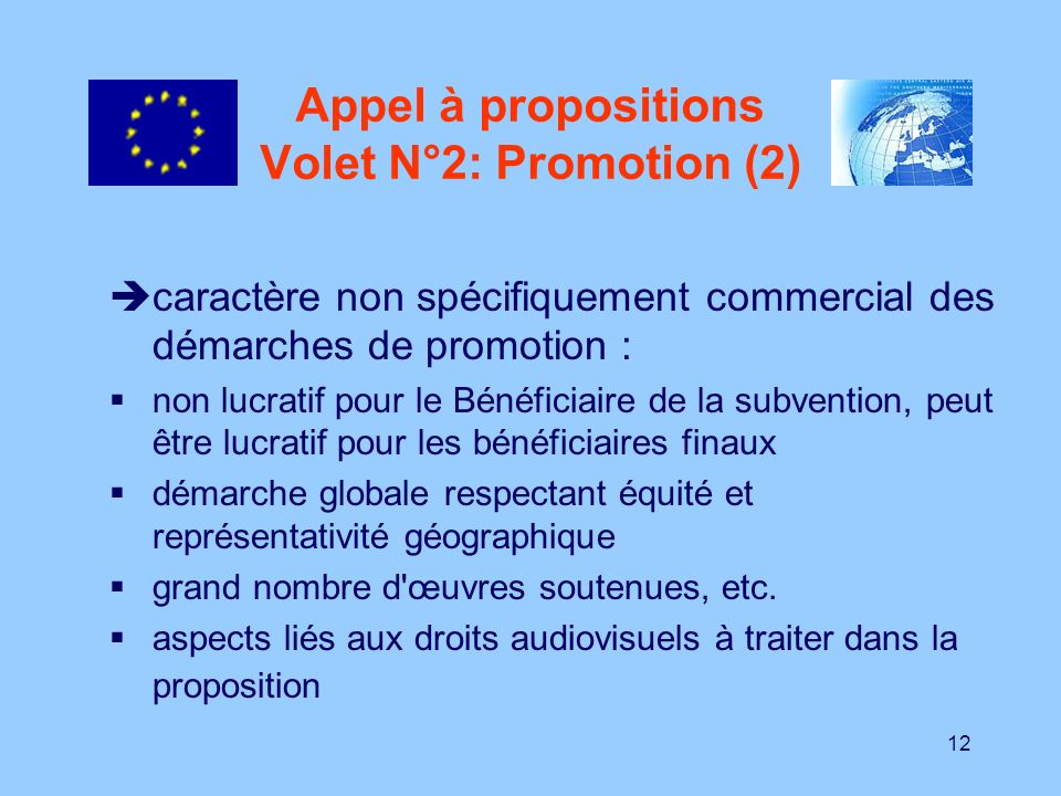 Appel à propositions Volet N°2: Promotion (2)