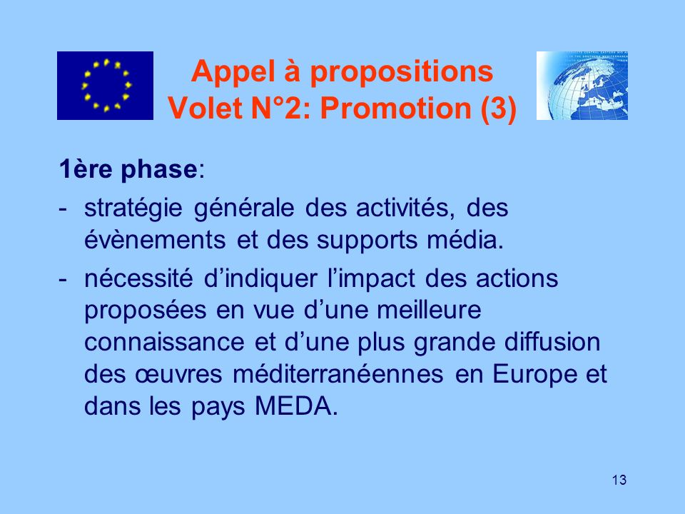 Appel à propositions Volet N°2: Promotion (3)