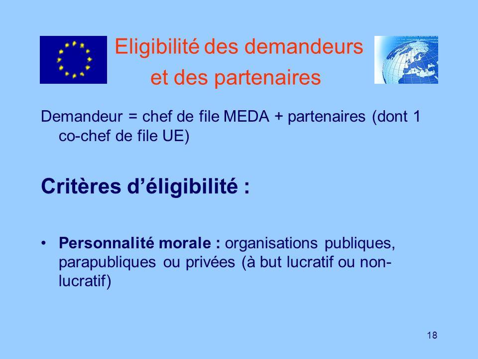 Eligibilité des demandeurs et des partenaires