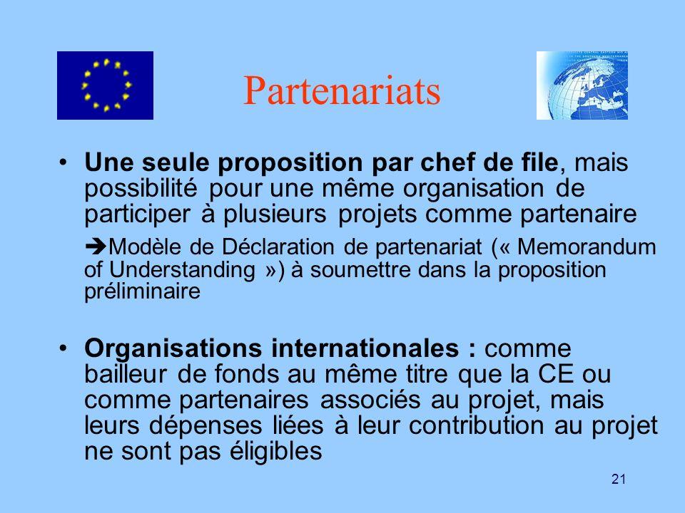 PartenariatsUne seule proposition par chef de file, mais possibilité pour une même organisation de participer à plusieurs projets comme partenaire.